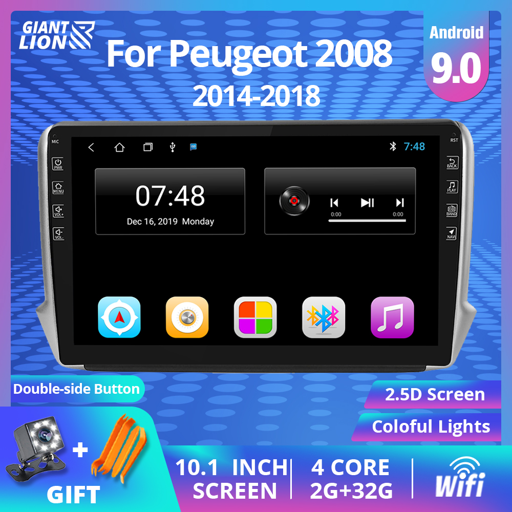 <font><b>2</b></font> <font><b>Din</b></font> Android 9.0 Car DVD Player Radio Multimedia Autoradio Stereo GPS IPS Wifi Navigation Car Audio For Peugeot <font><b>2008</b></font> 2014-2018 image