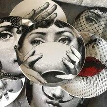 Fornazetti тарелка круглая керамическая тарелка для еды сервировочное блюдо человеческая тарелка для соуса Ретро Lina женская домашняя декоративная тарелка 6 дюймов