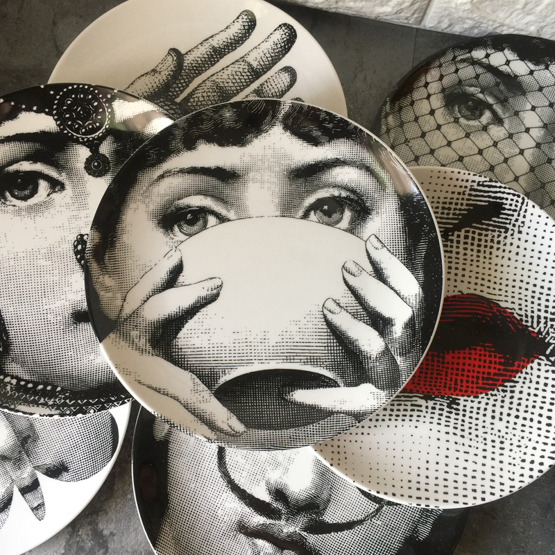Fornasetti Plate Round Ceramic Dish Eating Serving Dish Human Face Sauce Plate Retro Lina Female Home Decorative Plates 6 Inch