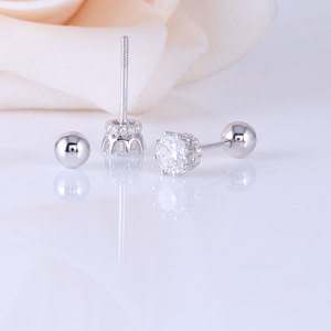 Image 4 - Transgems 14K 585 White Gold  0.5CTW 4mm F Colorless Moissanite Stud Earring with Accents Ball Screw Back for Women Fine Jewelry