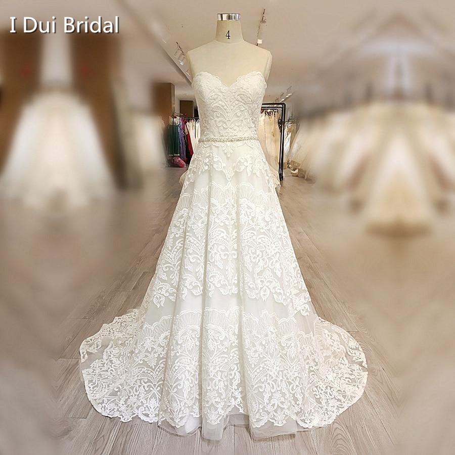 High Quality Lace Wedding Dress A Line Sweetheart Neckline Zipper Back with Crystal Beaded Belt Vestido De Novia
