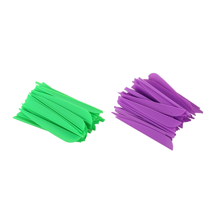 Hot Arrows Vanes 4 Inch Plastic Feather Fletching For DIY Archery Arrows 50 Pack(Purple) & 50 Pack(Green)