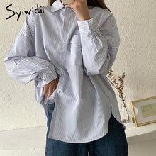 Syiwidii camicia abbottonata a righe tasca da donna oversize stile allentato colletto rovesciato Casual bianco con blu 2021 moda primavera