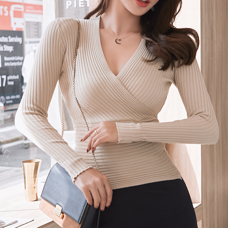 15 Colors 2019 Sexy Deep V Neck Sweater Women's Pullover Slim Sweaters Female Elastic Long Sleeve Tops Femme (N0021)