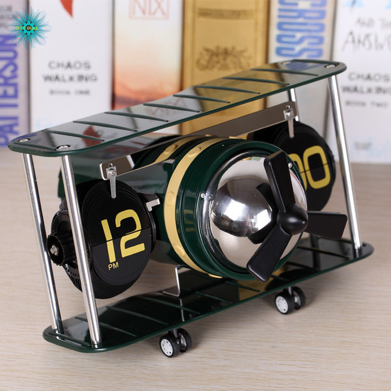Desk Retro Auto Flip Clock Vintage Digital Table Clock Flip Down Clock Moving Aircraft Plane Desktop Watch Clocks