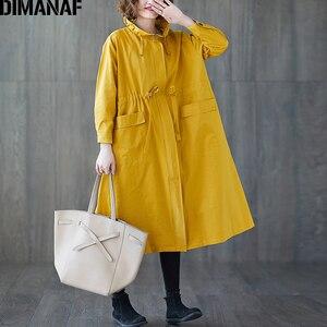 Image 2 - DIMANAF 여성 자 켓 코트 플러스 크기 가을 큰 크기 카디 건 여성 느슨한 겉옷 긴 소매 주머니 지퍼 의류 2021