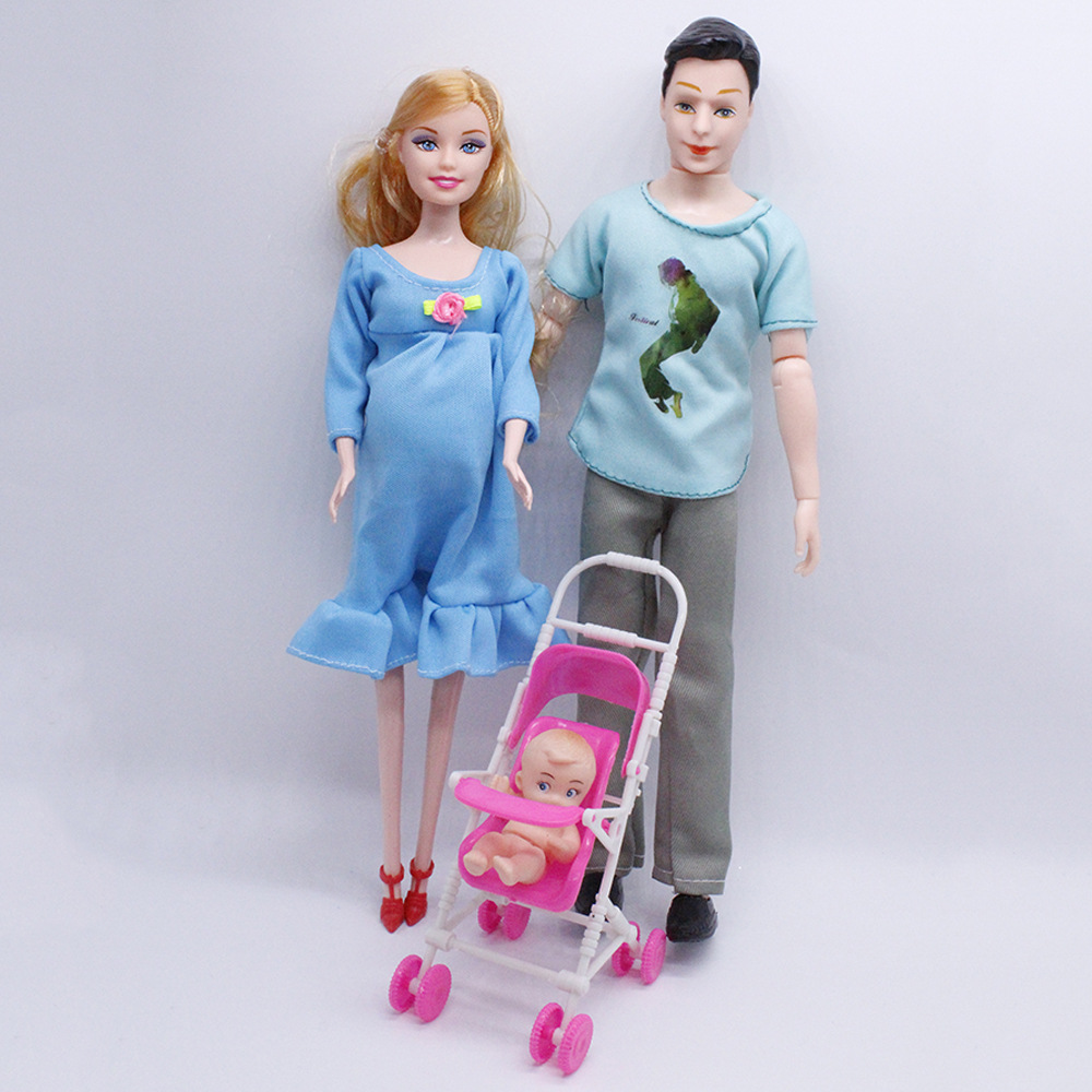 Toys Kids 3 People Dolls Suits 1 Mom /1 Dad /1 Baby Son/1 Baby Carriage Real Pregnant Doll For Barbie Girl Gifts