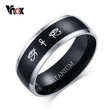 Vnox Cruz de Anka Horus ojos negro anillo de los hombres de titanio Casual de Hombre Accesorios fe joyas de amuleto