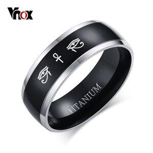 Vnox Anka Cross Horus Eyes Black Ring for Men Titanium Casual Male Accessories Faith Amulet Jewelry