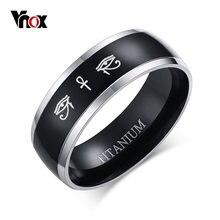 Мужское черное титановое кольцо vnox влянка крест глаз хора