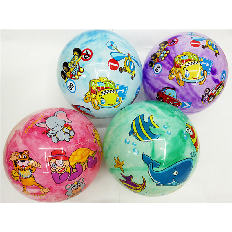 22CM Baby Cartoon Inflatable Bouncy Ball Outdoor Sport Soft Rubber Ball Hand Catching Ball Educational Toy For Children