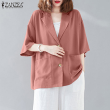 Plus Size ZANZEA Women Summer Jackets 2021 Ladies Elegant Soild Outwear Casaul Short Sleeve Lapel Collar Button Up Pockets Coat