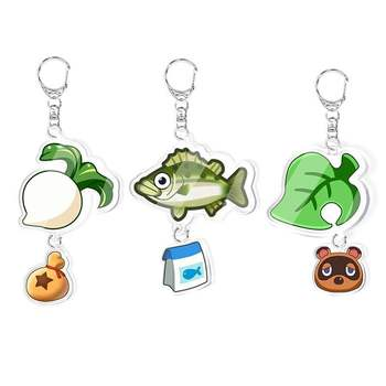 Animal Crossing Keychains Loveliness Animal Toy Acrylic Pendant Key Chain Double-sided Animal Forest Friends Association Keyring image