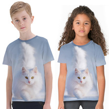 Cute Cat Printed T Shirts 3D Graphic Tee Boys Girls Personality Short Sleeve Round-Neck Tops