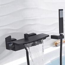 Смеситель для ванны с одной ручкой, кран «Водопад» с носиком, ручной душ, настенный, для ванной комнаты