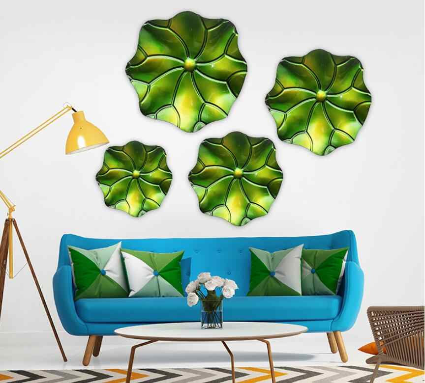 Creative wall hanging large three-dimensional wrought iron wall decoration Lotus leaf shape Living room model wall hanging wall