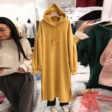 New Autumn Guard Sweatshirt Women 2019 Loose Pure-color Open-forked Medium-long Hat Guard Pullovers Sweatshirt Women in autumn 2019 the new solid color medium long cap head clothing loose and thin dress women black pullovers sweatshirt women