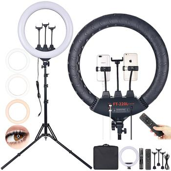 FOSOTO Photographic Light 22/18 Inch Ring Light 3200-5600K Led Ring Lamp With Remote Tripod For Phone Camera Studio Phone Video spash tl 240s 1 set led video light with tripod stand cri 93 3200k 5600k studio photo lamp led light panel photographic lighting
