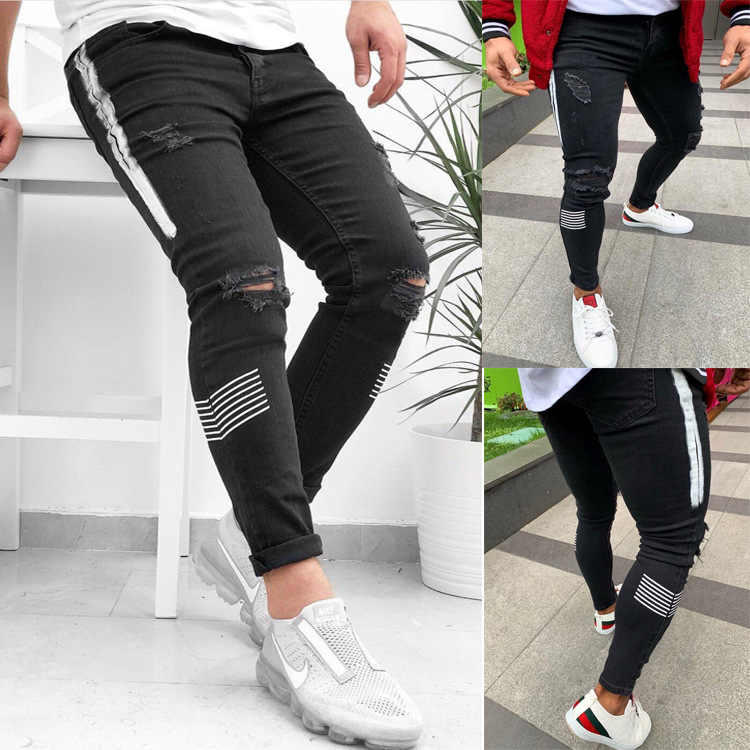 Men's Skinny Jeans Side Stripes Ripped Frayed Slim Fit Denim Pants Hip Hop Black Streetwear Rolled Edge Casual Jean Trousers Men
