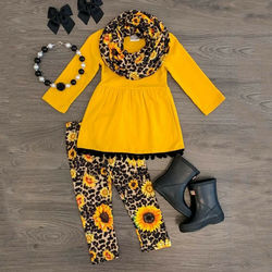 2 pçs crianças da criança do bebê menina manga longa camiseta topos + calças florais conjunto de roupas outono amarelo girassol 2 3 4 5 6 anos de idade