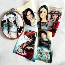 Meninas diy costura estofando retalhos decoração pano placemat/bolsa/sacos/almofada/quadro pintura menina mão tingida tecido de lona de algodão