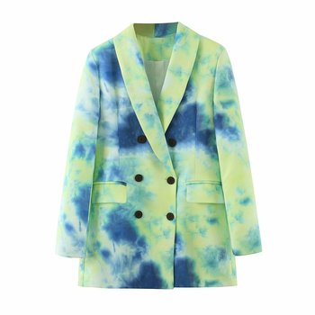 Womens fashion blazer autumn new style tie-dyed gradient color suit collar double-breasted long-sleeved jacket female