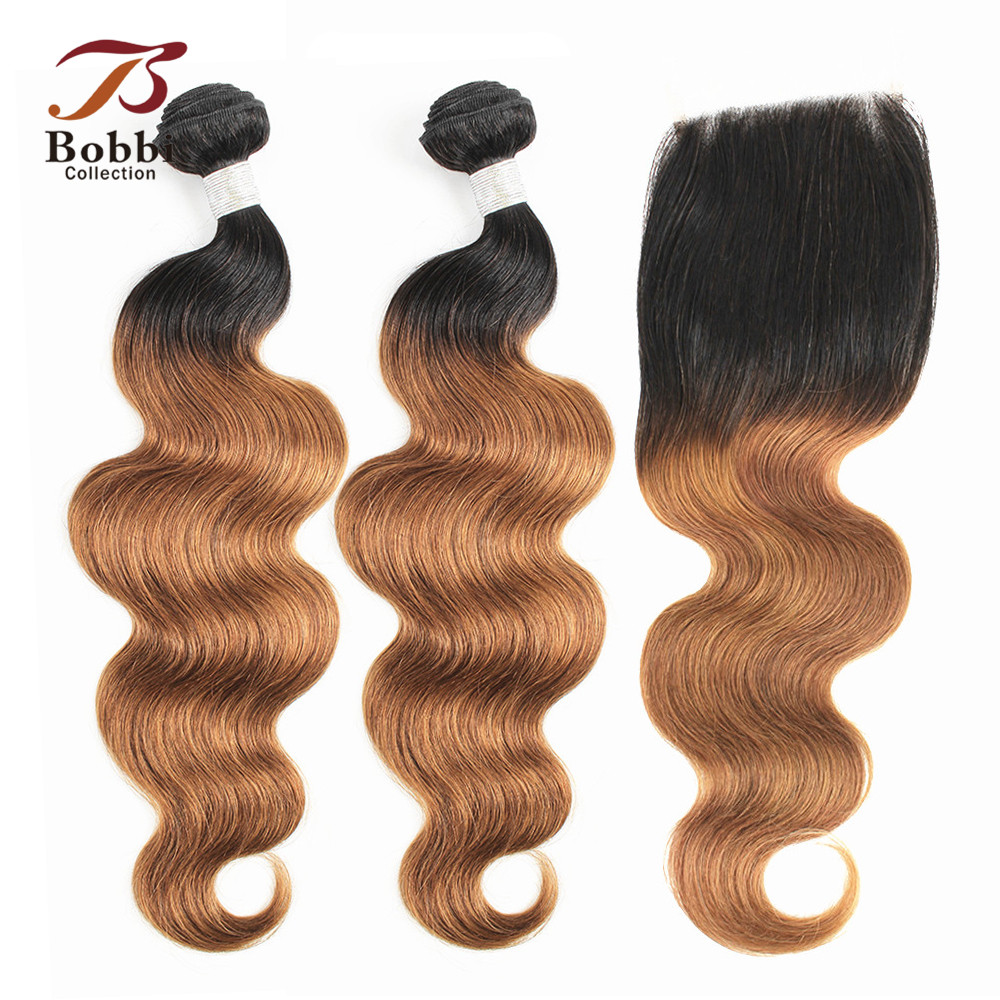 BOBBI COLLECTION Ombre Human Hair <font><b>Bundles</b></font> <font><b>With</b></font> <font><b>Closure</b></font> T <font><b>1B</b></font> <font><b>30</b></font> Brown Auburn Indian Body Wave Non-Remy Human Hair 10-24 inch image