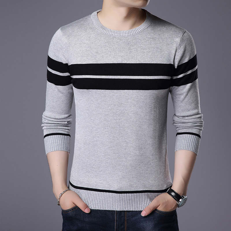 AIRGRACIAS Sweater Men Autumn Winter Warm Mens Knitted Sweaters striped Casual O Neck Pull Homme Cotton Pullover For Man in Pullovers from Men 39 s Clothing
