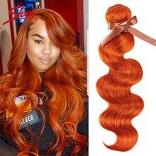 Tissage en lot brésilien Body Wave en vison élégant, couleur Orange blond, 8 à 28 pouces, extensions, Style Bugha, livraison gratuite