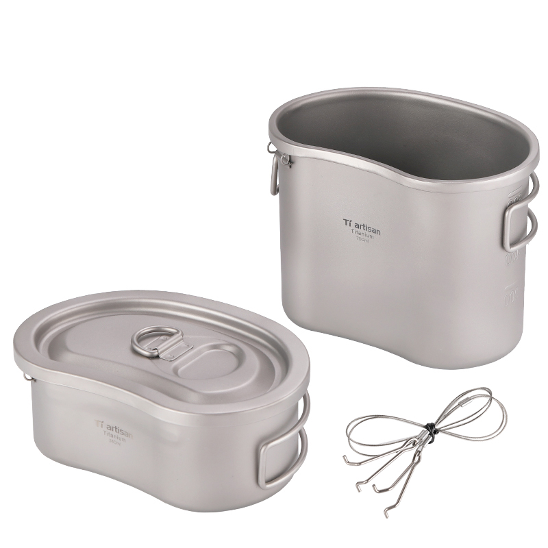 Tiartisan Outdoor Military Canteen Cup Travel Picnic Bowl Camping Bag Lunch Box Climbing Lunch Case Outdoor Pot Set