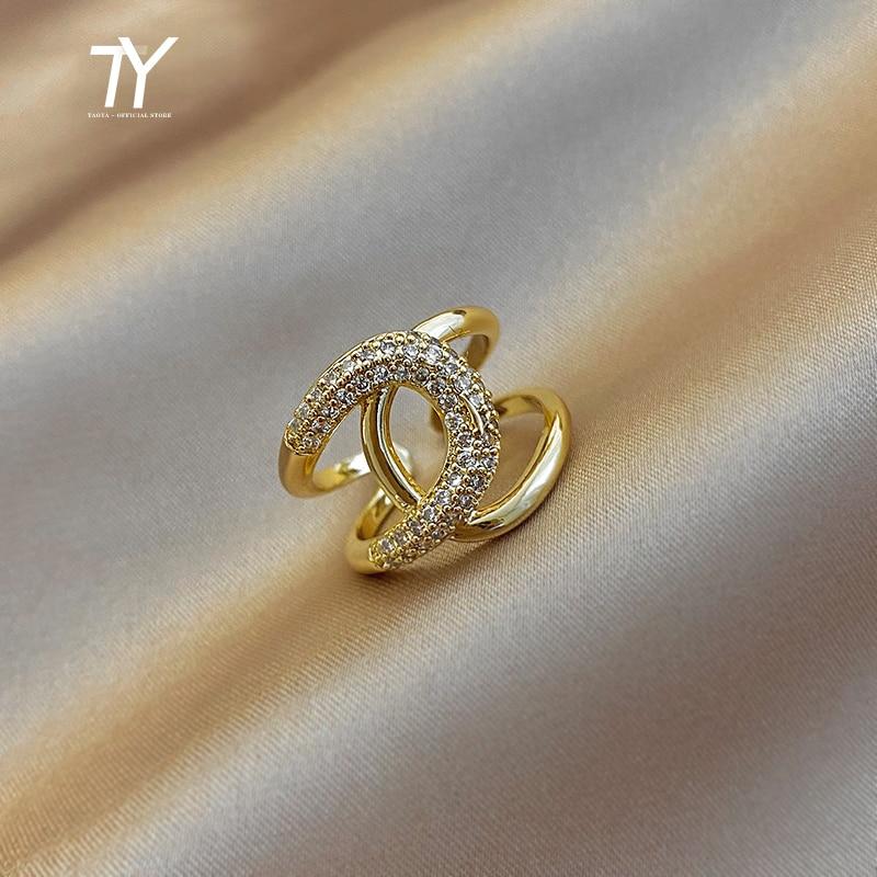 2020 New Metal Zircon Cross Gold Open Rings Fashion Korean Jewelry For Woman Luxury Wedding Party Girl's finger Unusual Ring