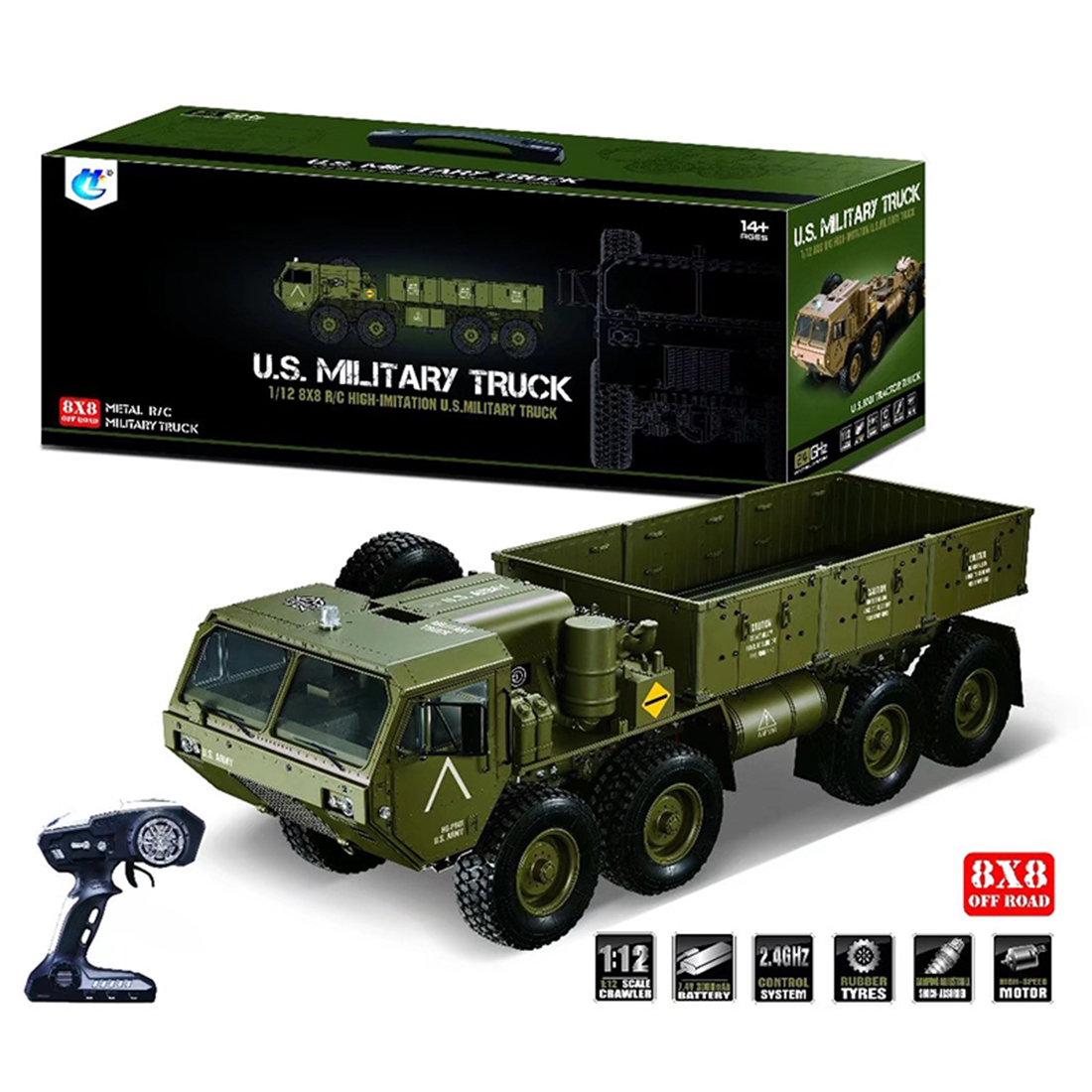 1:12 8 X 8 R/C 2.4G Electric Remote Control Militray Truck Model All Terrin Truck Kit - Desert Yellow