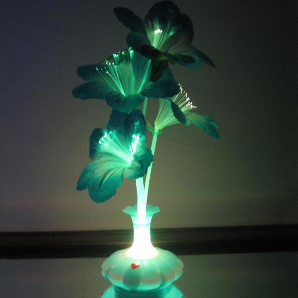 Светодиодный волокно цветок капок ваза светильник из оптоволокна цветок красочные рождественские украшения