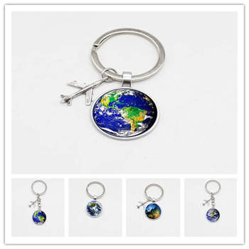 2019 New World Map Keychain Travel Discovery Discover Glass Pendant Keychain Cabin Aircraft Charm Keychain Men and Women Gifts image