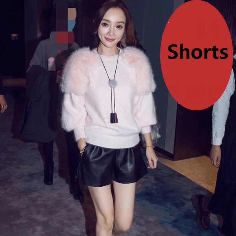 Free Shipping,Brand Genuine Leather Women Shorts.fashion Sheepskin Black Short Pants,quality Female Sales Lady Sexy Loose