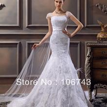free shipping 2019 new style hot bridal gown cute tulle Custom size beading high quality lace pleat