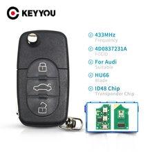 Keyyou para audi a3 a4 a6 a8 b5 tt rs4 quattro 1994 - 2004 modelos antigos 433mhz id48 chip hu66 lâmina carro remoto chave da aleta 3 botões