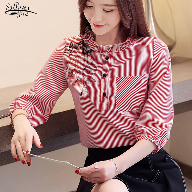 Blusas Mujer Women Blouses 2020 Embroidered Striped Shirts 3/4 Sleeves Chiffon Shirts Pocket Button Womens Clothing 8148 50