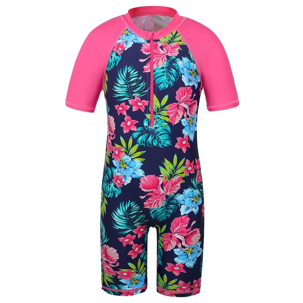 BAOHULU Navy Floral Kids Swimsuit UV UPF50+ Short Sleeve Toddler Girls Swimwear Children Swimming Suit Beachwear for 2-11 Yrs