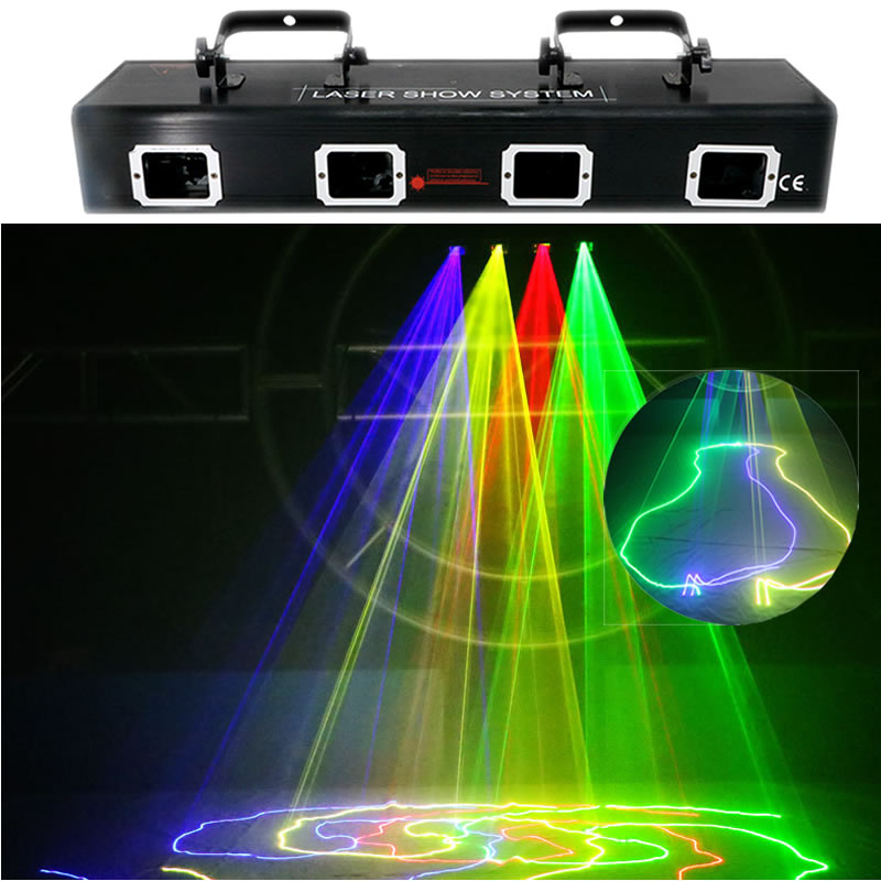 AUCD 4 Lens Beam Ray Scan Red Green Blue Mix Yellow Projector Laser Lights Pro DMX Disco DJ Party Show Stage Lighting 505RGBY