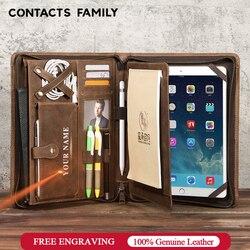 Di cuoio di affari ufficio notebook cartella di file sacchetto del documento portfolio journal note book di caso di multi-funzione valigetta organizer