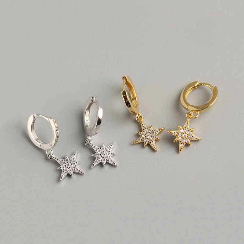 Inzatt Nyata 925 Sterling Silver Geometris Zircon Anting-Anting Hoop untuk Fashion Wanita Pesta Lucu Adas Manis Bintang Fine Perhiasan Aksesoris