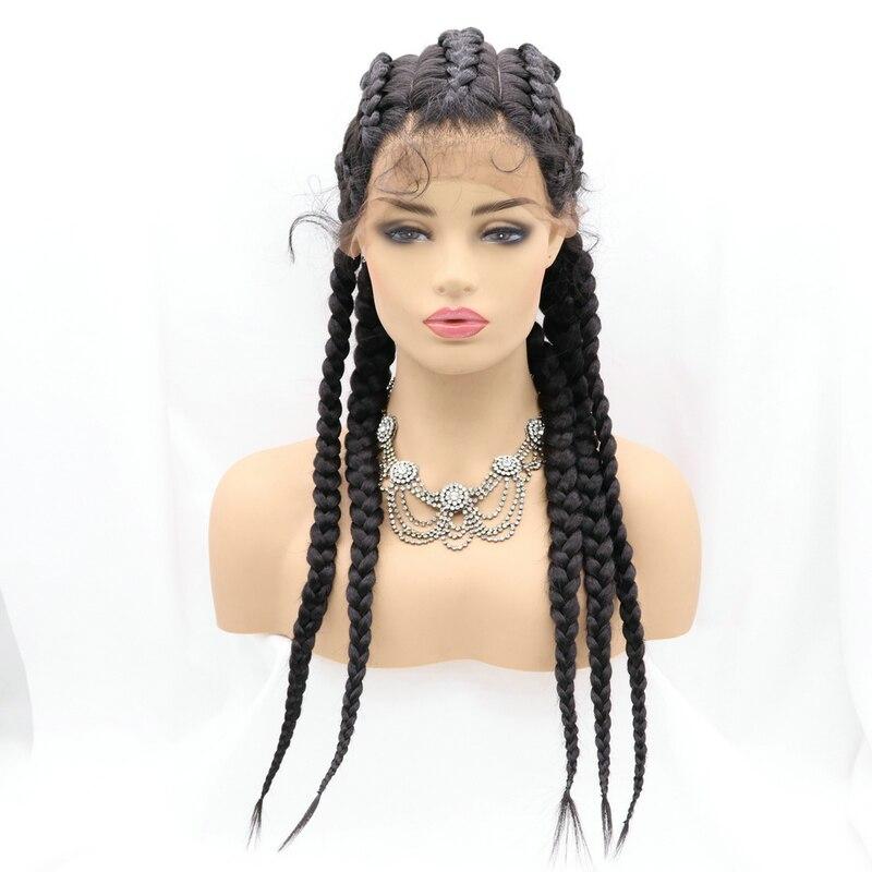 Sylvia cornrow tranças perucas do laço com cabelo do bebê marrom/preto peruca dianteira do laço sintético para as mulheres 5 caixa trançado perucas resistentes ao calor