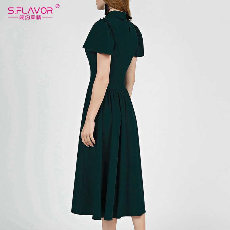 S. sabor feminino cor verde manga curta vestido de verão elegante peter pan colarinho magro midi vestidos vintage feminino a-line vestido
