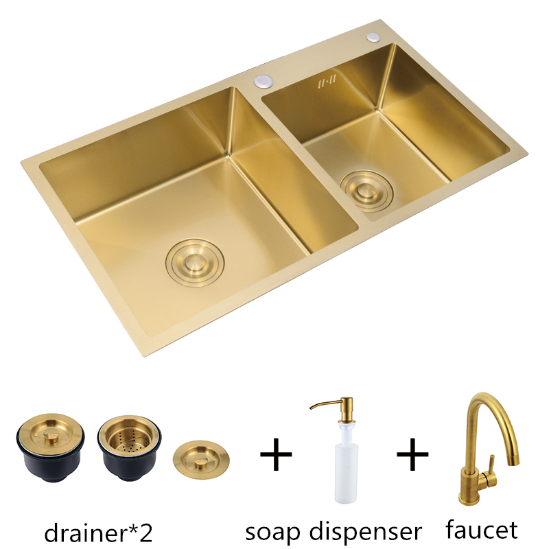 brushed gold kitchen sink double bowl with faucet stainless steel sink bowl undermount or above counter farmhouse sink basin