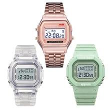 Luxury Digital Women's Watches Fashion Stainless Steel Link Bracelet Wristwatch Strap Business Electronic Men Clock Reloj Mujer
