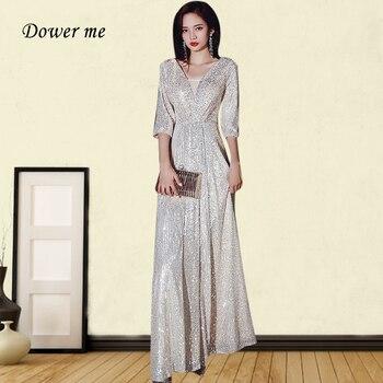 Evening Dress Elegant GK133 Sparkling Sequined A Line Evening Dresses For Women V-neck Robe De Soiree Half Sleeve Formal Gowns