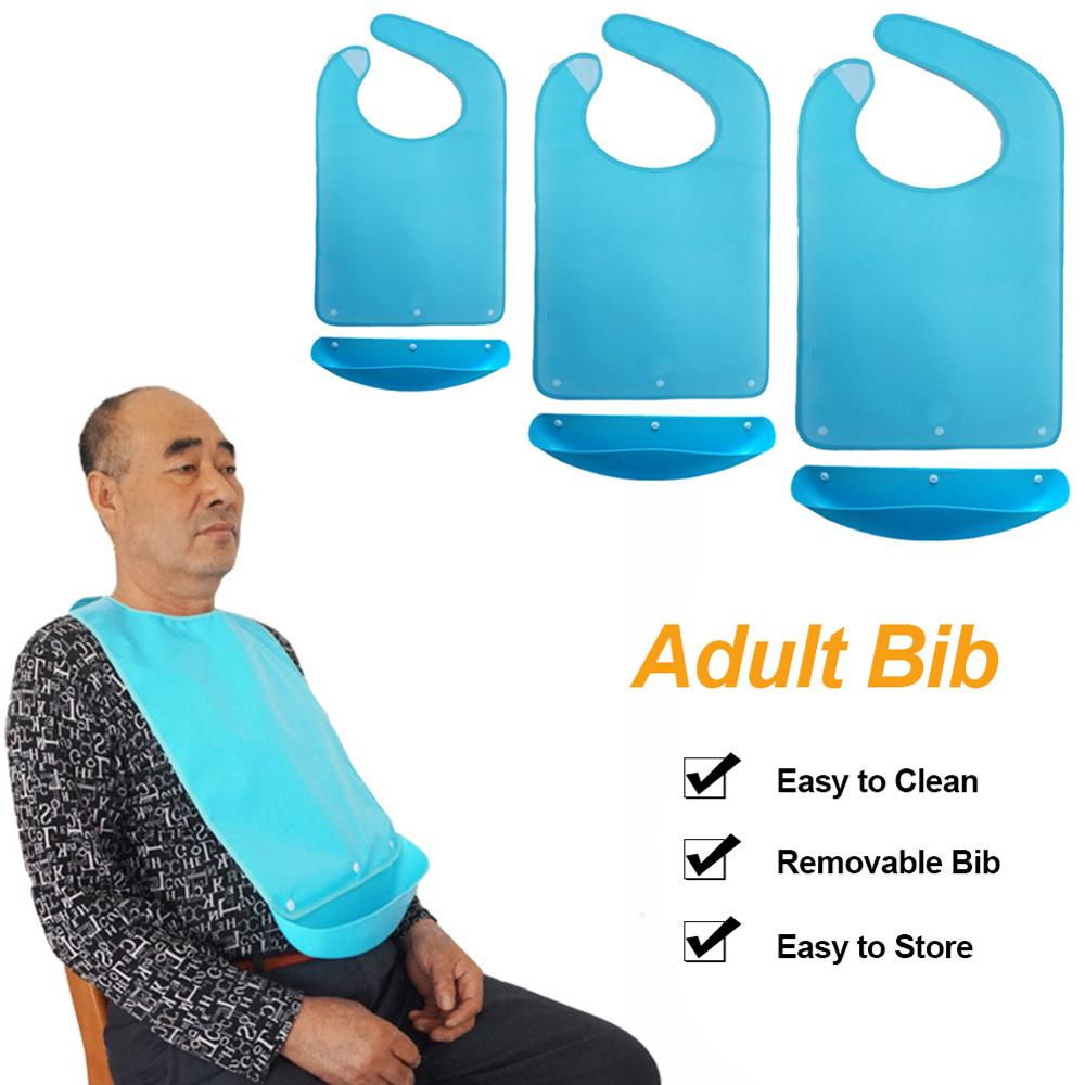 Adult Bib Mealtime Clothing Protector With A Detachable Crumb Catcher Anti-leakage Bib For Seniors Elderly Disabled Patients