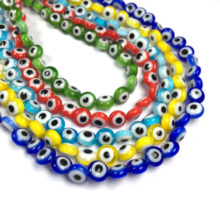 6mm Flat Round Glass Beads Evil Eyes Glass Stone Beads For Jewelry Making DIY Necklace Bracelet Accessories Wholesale