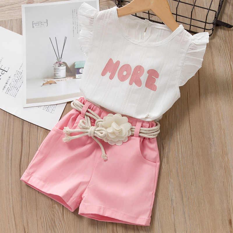 Melario الفتيات مجموعة ملابس 2020 جديد الصيف زهرة الطباعة سترة السراويل موضة ملابس الاطفال مجموعات ملابس كاجوال للأطفال